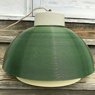 1950s Heifetz Rotaflex Large Pendant Light~Green & Cream~Mid Century Modern