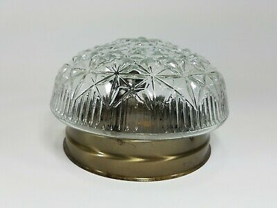 "Vintage 7"" Ceiling Light Fixture Clear Cut Glass Globe Shade Crystal Design"