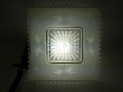 Vintage Art Deco Square Atomic Starburst Frosted Glass Ceiling Light Shade