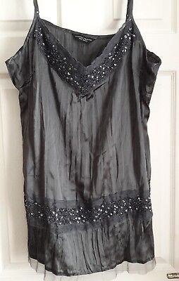lace trim sequins and beads cami /vest top size 20