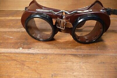 Vintage Welsh Mfg Co Welding Goggles Steampunk Glasses  Clear Lenses