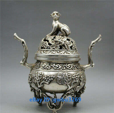 collection Tibetan silver hand-carved Monkey cover grape theme Incense burner