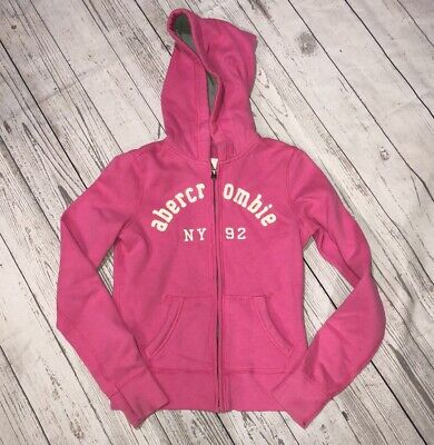 Girls Youth Abercrombie Kids Pink Zip Up Hoodie Size Large