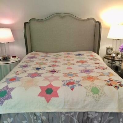 Vintage HEXAGON STAR QUILT Hand Pieced and Quilted