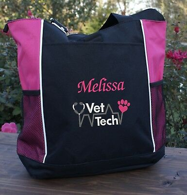 Personalized Vet Tech tote with paw heart stethoscope and your name embroidered