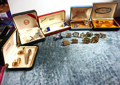 (19) Sets of Vintage 1950s and 60's Cuff Links Gold & Silver Tone Some w/ Stones