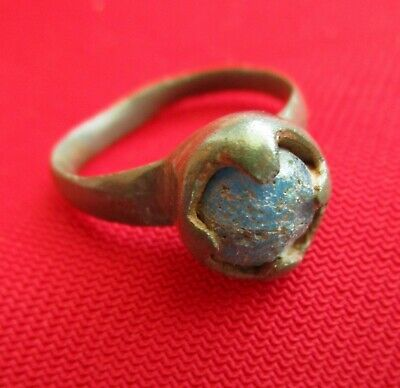 BLUE glass stone. MUSEUM QUALITY Ancient Roman bronze ring . AMAZING