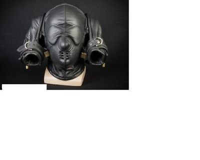 Real leather suffocating mask hood gimp cuir slave air tight Gloves Puppy SLave