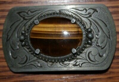 Vintage Cats Eye Tigers Eye Metal Belt Buckle