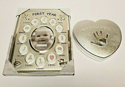 Baby Connection babys 1st handprint kit mold plaster W/ First Year Picture Frame
