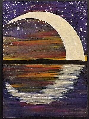 ACEO ORIGINAL PAINTING ocean bay lighthouse landscape cats