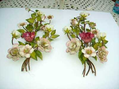 Gorgeous Huge Pair Vintage Italian Tole Roses Wall Sconces