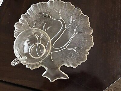 Crystal Clear Glass Snack Luncheon 4 Piece Plate and Cup Set Vintage.