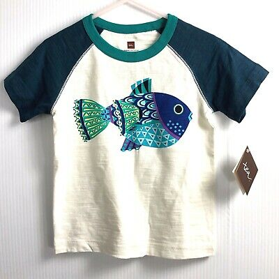 Tea Collection T-Shirt Blowfish Tee Fish Blue Green Size 2T Months New