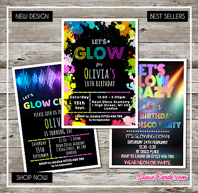 NEON GLOW INVITATION Personalised UV Birthday Party Invites Glow In The Dark