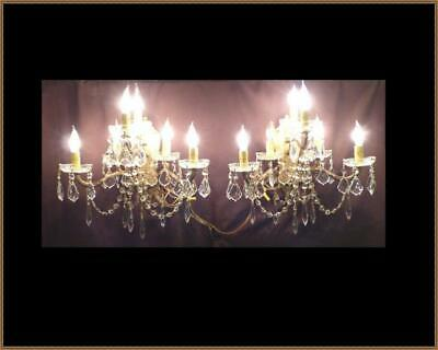 (2) Vintage Large Brass Wall Sconces Chandelier Amazing Crystals 6 Light Each