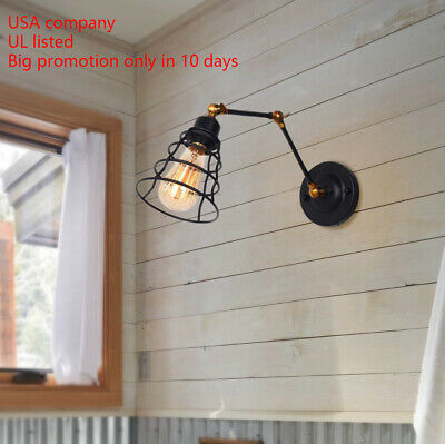 Black Wall Lamp Adjustable Wall Sconces Plug-in Lamps Swing Arm Wall Lighting