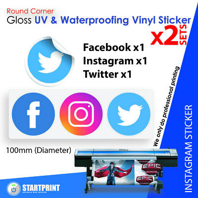 Facebook Instagram Twitter Icon Stickers x2sets Gloss (100mm)
