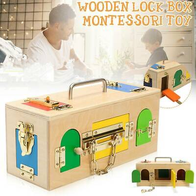 Wooden Montessori Material Little Lock Latch Box Kids Early Educational Toys