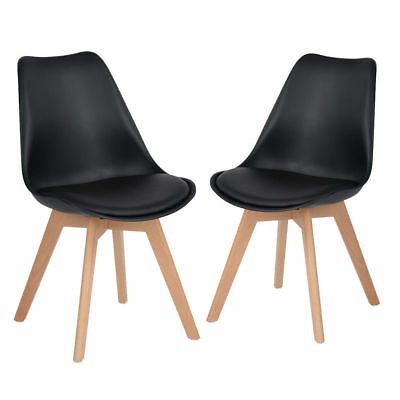 Set of 2 Tulip Dining Chair Plastic Wood Office Chair With Solid Wood Legs PU Fa
