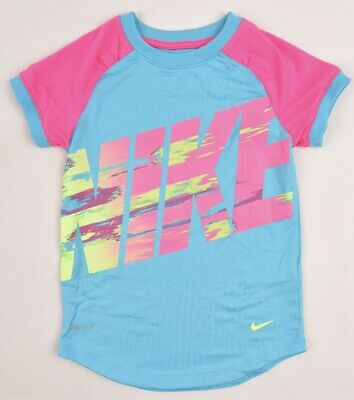 NIKE Girls' Kids' DRI-FIT T-shirt / Top, Blue/Pink, sizes 6 or 6x Years