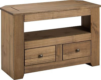 HOME Amersham 2 Drawer TV Unit - Dark Solid Pine.