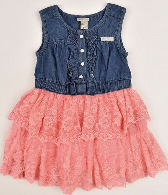CALVIN KLEIN JEANS Baby Girls' Adorable Dress, Blue/Pink, size 3 years