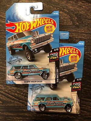 Hot Wheels 2019 64 Nova Wagon Gasser -Jerry Rigged lot of 2 cars!