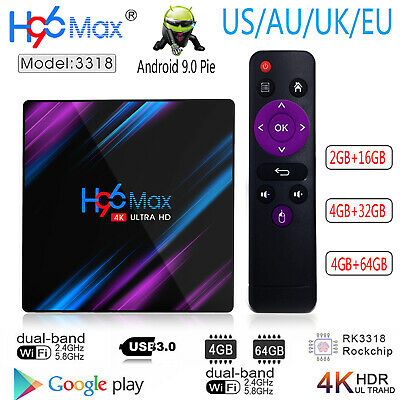H96 MAX 3318 USB 3.0 Android 9.0 Quad Core 4K HD Smart Bluetooth4.0 Top TV Box