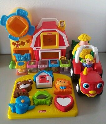 Fisher Price Musical Farm House Peek A Boo, Tractor & Animal Puzzle Mattel ( Vgc