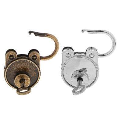 2 Pieces Old Vintage Antique Style Mini Padlocks Key Lock Bronze + Sliver