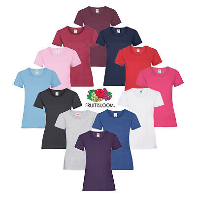 Fruit of the Loom Ladies T-Shirts Womens Lady Fit Cotton Plain Tee Sports Top