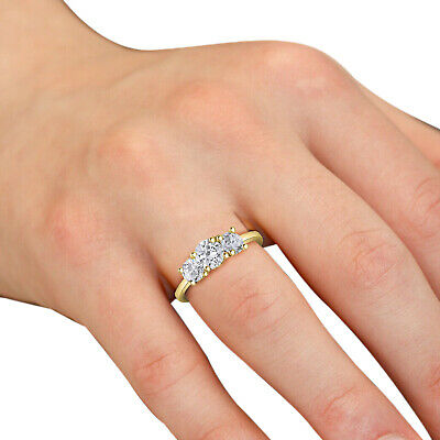 Solid 10K Yellow Gold 3 Stone Round Cut Cubic Zirconia Engagement Ring - 5mm CZ