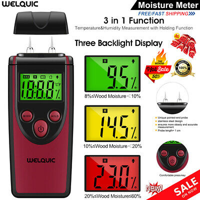 Digital LCD Damp Moisture Meter Detector Tester Wood Temperature Humidity Sensor