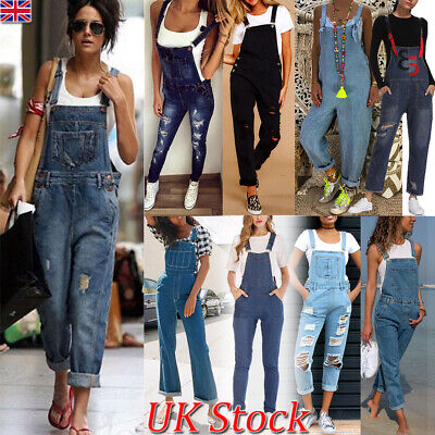 Women's Ladies Denim Dungarees Slim Fit Ripped Light Wash Jeans Jumpsuit Overall
