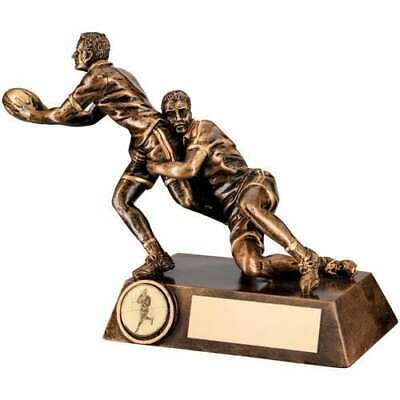 Rugby Tackle Figure Trophy Bronze Gold Double 7.75in Personalised FREE Engraving