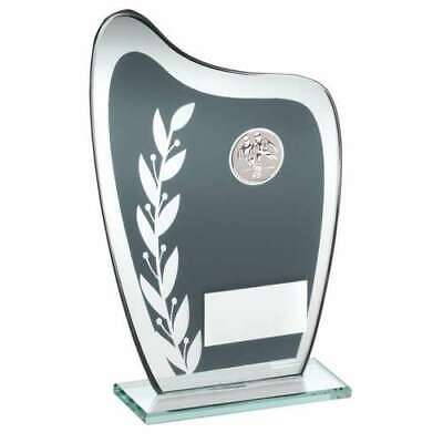 Grey / Silver Glass Plaque With Football Insert Trophy 7.25in FREE Engraving