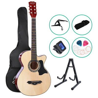 "ALPHA 38"" Inch Wooden Acoustic Guitar Classical Folk Full Size w/ Bag Capo Tune"