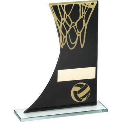 Netball Trophy Black Gold Printed Glass Plaque 8in FREE Engraving