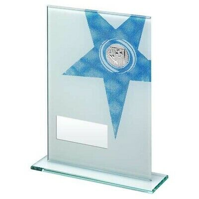 White Blue Printed Glass Rectangle Football Trophy 7.25in FREE Engraving