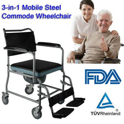 Mobile Steel Rolling Commode Chair Bedside Toilet Disabled Elderly Seat  Potty