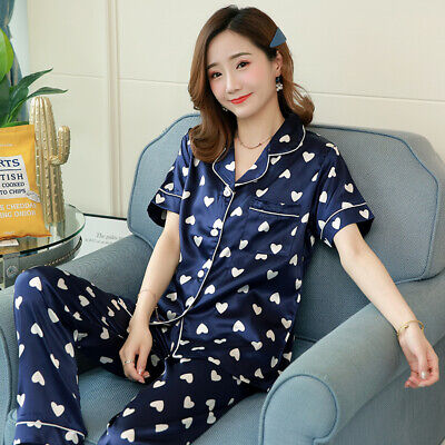 Ladies Stunning Printed Satin Silk Soft Comfort Pyjamas Short Sleeve Nightwear
