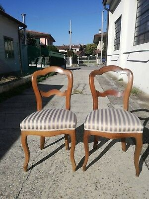 Pair of Chairs Luigi Philip Fine '800 Walnut Chairs Chairs Chair