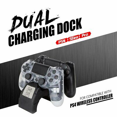 Dual LED Wireless Charging Dock Controller Charger Station For PS4/Pro/Slim PQ