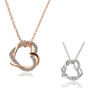 18K Rose Gold Filled Women's Heart Pendant Necklace With Crystal TR