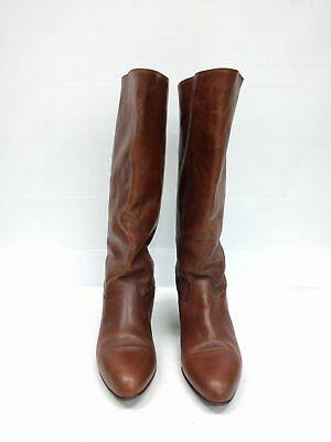 Size 41 Vintage Ladies 80s Brown Rock Grunge High Leather boots