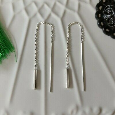 925 Sterling Silver Solid Bar Sticks Pull Through Threader Earrings in Box