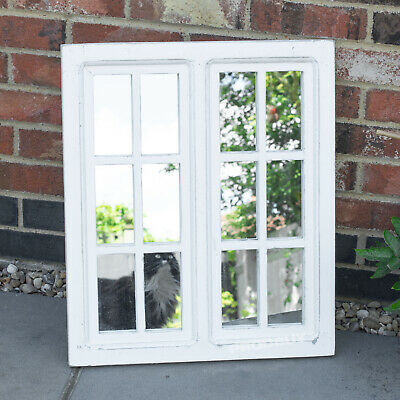 Wall Mounted White Wooden Frame Window Mirror Outdoor Garden Vintage Rustic Home