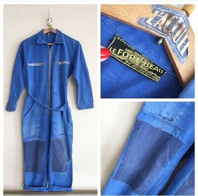 Vintage 1950s/60s French Cotton Chore Workwear Overalls Coverall Boiler Suit L