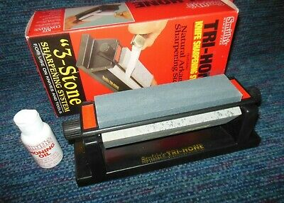Smith's Tri-Hone 3 Stone Arkansas Knife Tool Sharpening System Used in Box